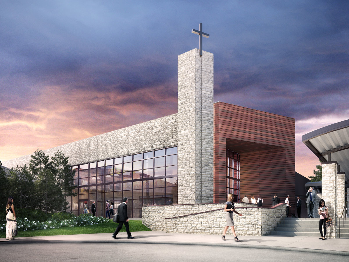 Church building additons studio red architects for Church exterior design